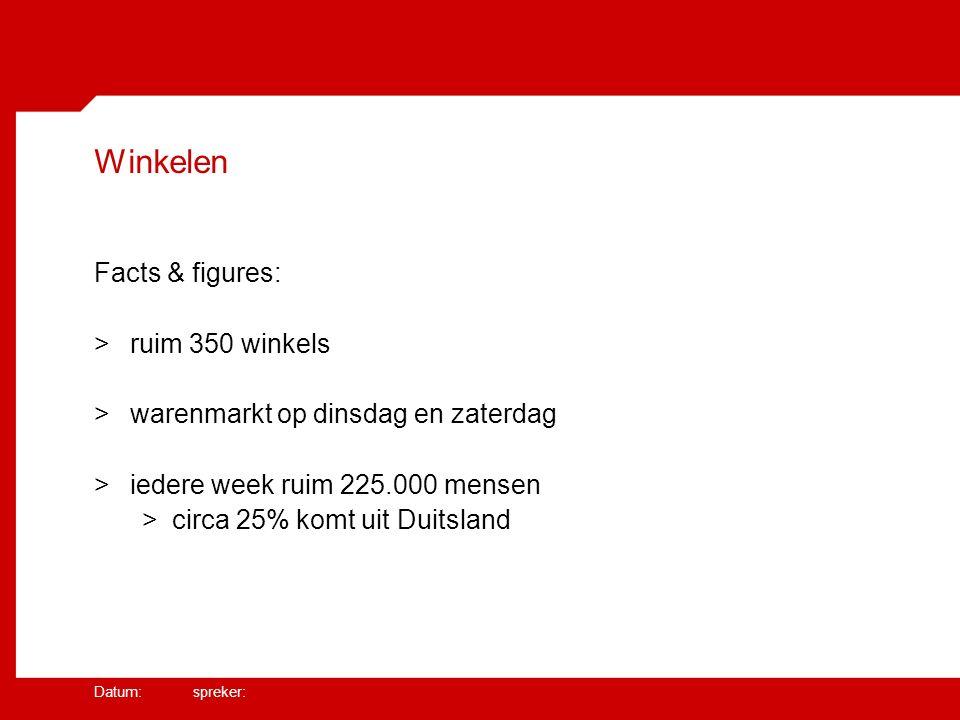Datum: spreker: Winkelen Facts & figures: >ruim 350 winkels >warenmarkt op dinsdag en zaterdag >iedere week ruim 225.000 mensen >circa 25% komt uit Duitsland