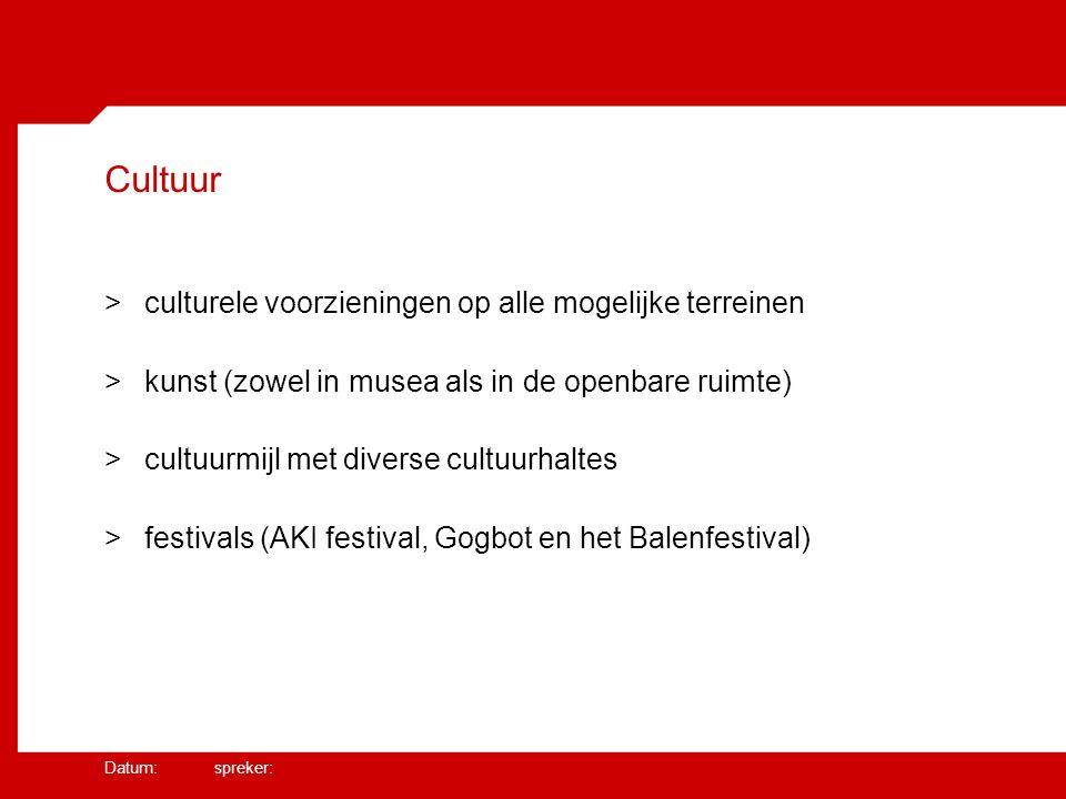 Datum: spreker: Cultuur >culturele voorzieningen op alle mogelijke terreinen >kunst (zowel in musea als in de openbare ruimte) >cultuurmijl met diverse cultuurhaltes >festivals (AKI festival, Gogbot en het Balenfestival)