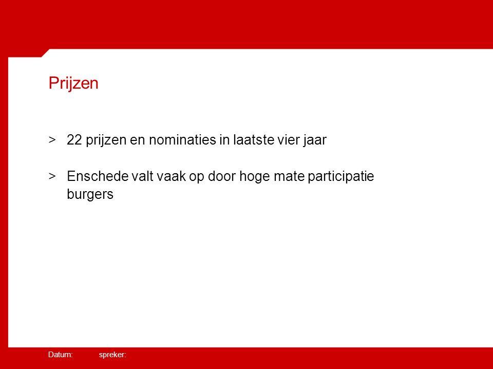 Datum: spreker: Prijzen >22 prijzen en nominaties in laatste vier jaar >Enschede valt vaak op door hoge mate participatie burgers