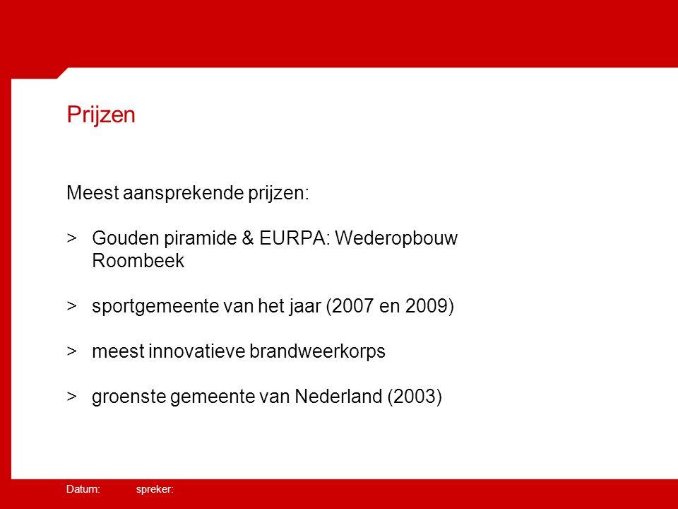 Datum: spreker: Prijzen Meest aansprekende prijzen: >Gouden piramide & EURPA: Wederopbouw Roombeek >sportgemeente van het jaar (2007 en 2009) >meest innovatieve brandweerkorps >groenste gemeente van Nederland (2003)