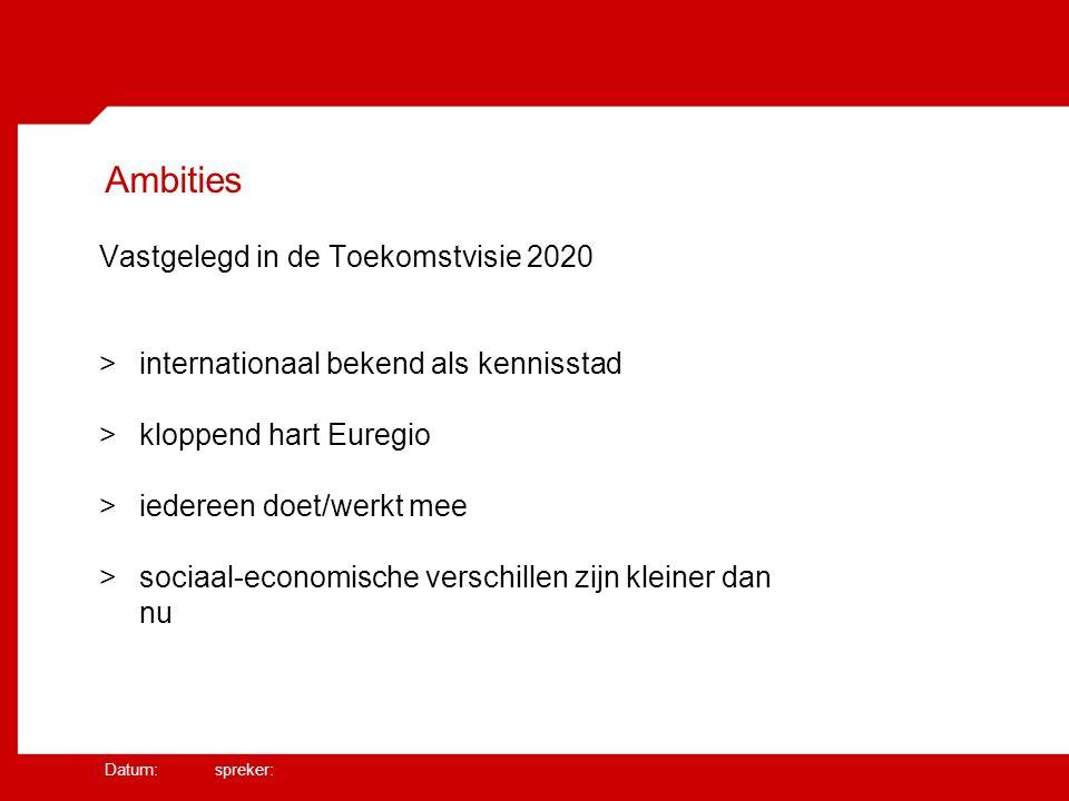 Datum: spreker: Ambities Vastgelegd in de Toekomstvisie 2020 >internationaal bekend als kennisstad >kloppend hart Euregio >iedereen doet/werkt mee >sociaal-economische verschillen zijn kleiner dan nu