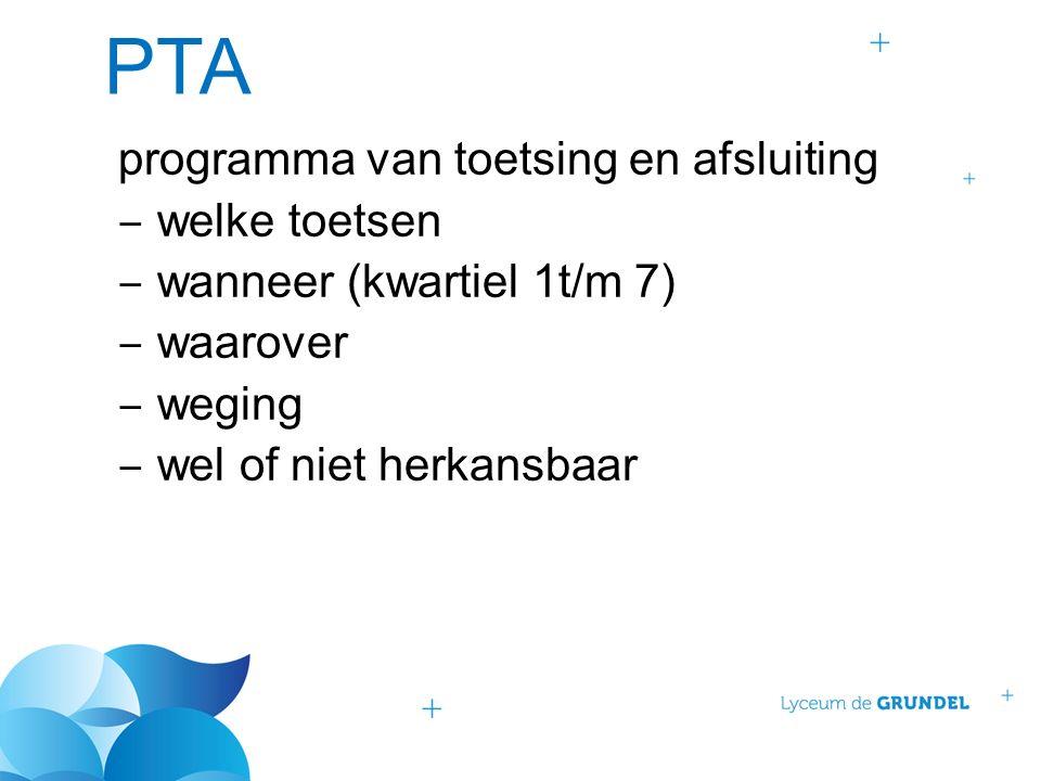 PTA programma van toetsing en afsluiting ‒ welke toetsen ‒ wanneer (kwartiel 1t/m 7) ‒ waarover ‒ weging ‒ wel of niet herkansbaar