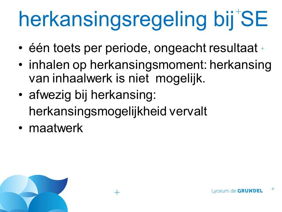 herkansingsregeling bij SE één toets per periode, ongeacht resultaat inhalen op herkansingsmoment: herkansing van inhaalwerk is niet mogelijk.