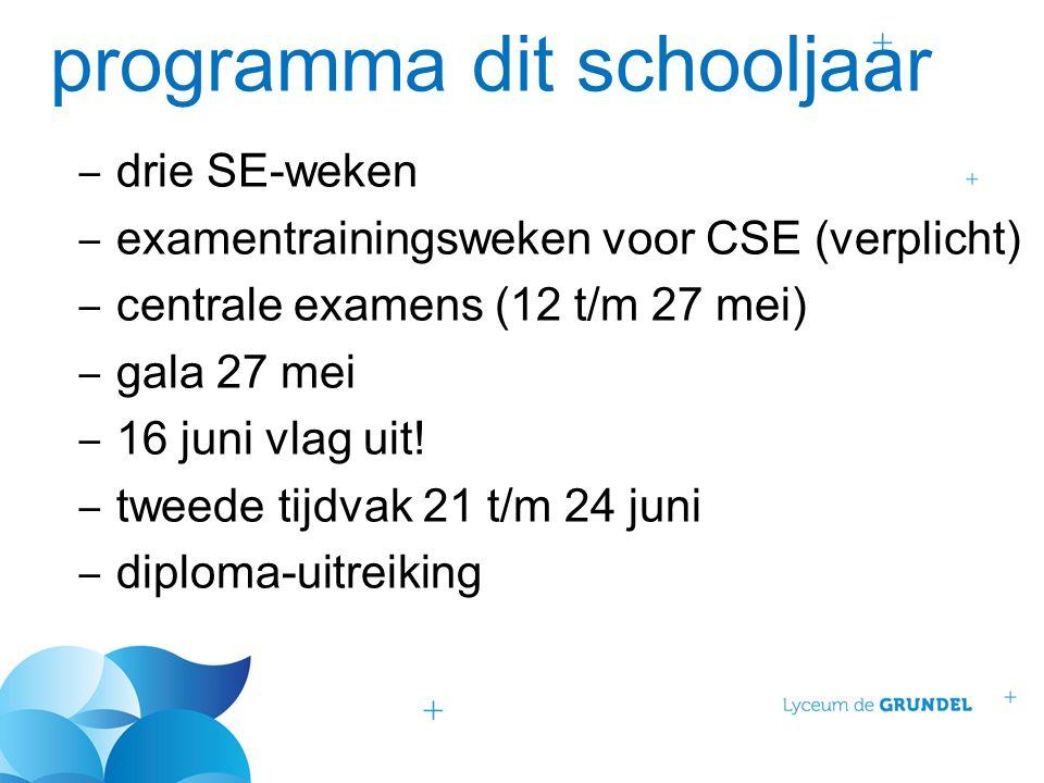 programma dit schooljaar ‒ drie SE-weken ‒ examentrainingsweken voor CSE (verplicht) ‒ centrale examens (12 t/m 27 mei) ‒ gala 27 mei ‒ 16 juni vlag uit.