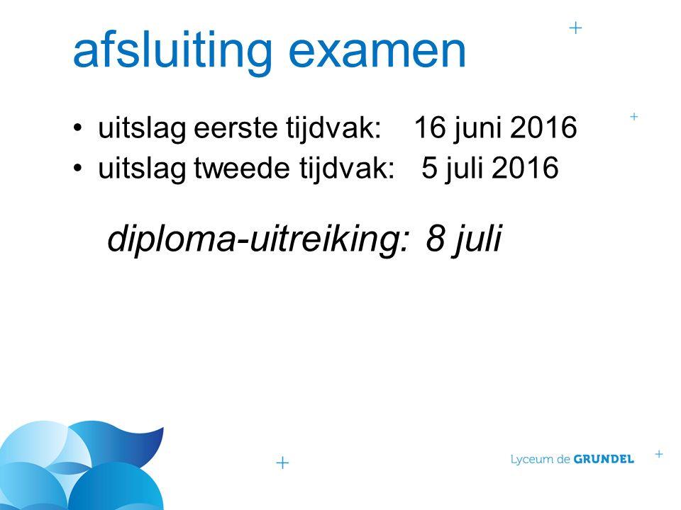 afsluiting examen uitslag eerste tijdvak:16 juni 2016 uitslag tweede tijdvak: 5 juli 2016 diploma-uitreiking: 8 juli
