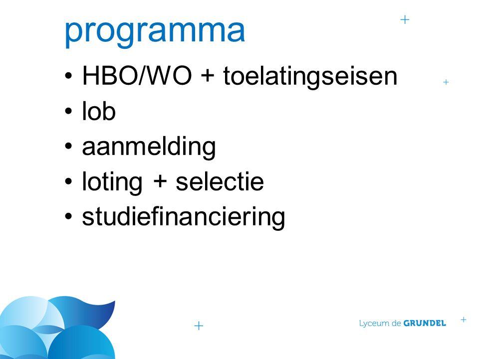 programma HBO/WO + toelatingseisen lob aanmelding loting + selectie studiefinanciering