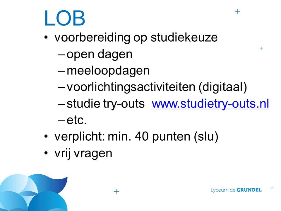 LOB voorbereiding op studiekeuze –open dagen –meeloopdagen –voorlichtingsactiviteiten (digitaal) –studie try-outs www.studietry-outs.nlwww.studietry-outs.nl –etc.
