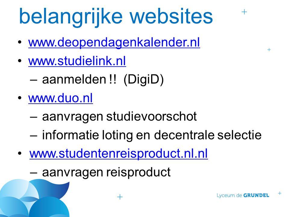 belangrijke websites www.deopendagenkalender.nl www.studielink.nl –aanmelden !.
