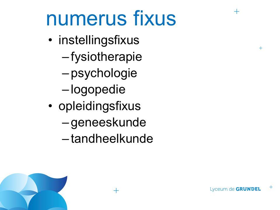 numerus fixus instellingsfixus –fysiotherapie –psychologie –logopedie opleidingsfixus –geneeskunde –tandheelkunde