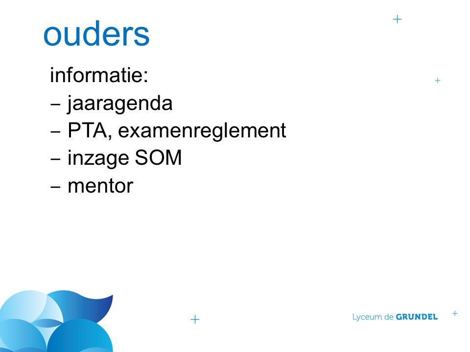 ouders informatie: ‒ jaaragenda ‒ PTA, examenreglement ‒ inzage SOM ‒ mentor