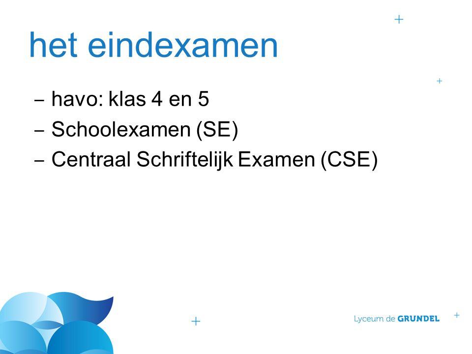het eindexamen ‒ havo: klas 4 en 5 ‒ Schoolexamen (SE) ‒ Centraal Schriftelijk Examen (CSE)