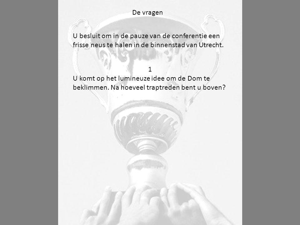 De vragen U besluit om in de pauze van de conferentie een frisse neus te halen in de binnenstad van Utrecht.