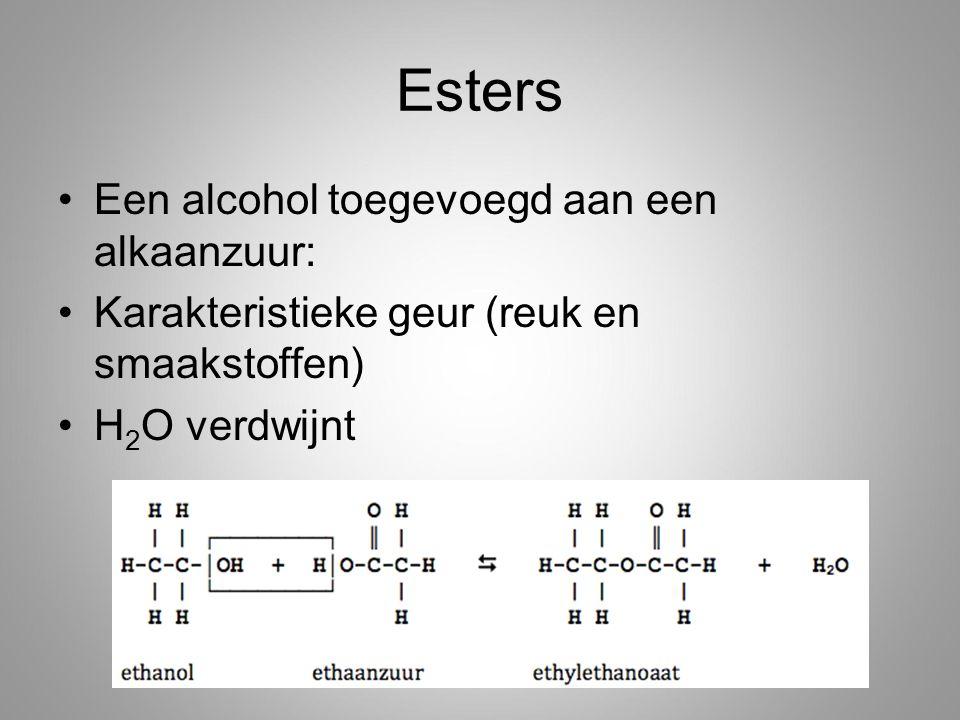 Esters Een alcohol toegevoegd aan een alkaanzuur: Karakteristieke geur (reuk en smaakstoffen) H 2 O verdwijnt