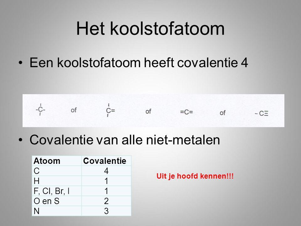 Het koolstofatoom Een koolstofatoom heeft covalentie 4 Covalentie van alle niet-metalen AtoomCovalentie C4 H1 F, Cl, Br, I1 O en S2 N3 Uit je hoofd kennen!!!