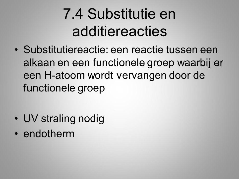 7.4 Substitutie en additiereacties Substitutiereactie: een reactie tussen een alkaan en een functionele groep waarbij er een H-atoom wordt vervangen door de functionele groep UV straling nodig endotherm