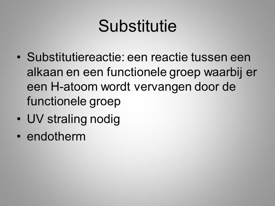 Substitutie Substitutiereactie: een reactie tussen een alkaan en een functionele groep waarbij er een H-atoom wordt vervangen door de functionele groep UV straling nodig endotherm