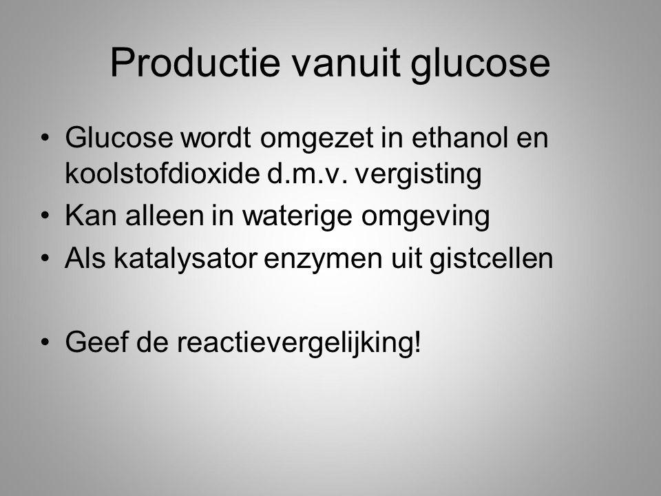 Productie vanuit glucose Glucose wordt omgezet in ethanol en koolstofdioxide d.m.v.