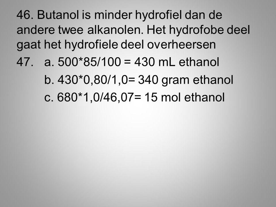 46.Butanol is minder hydrofiel dan de andere twee alkanolen.