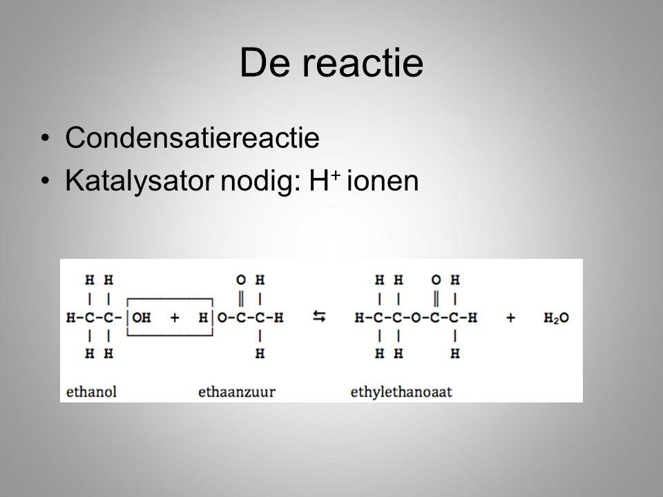 De reactie Condensatiereactie Katalysator nodig: H + ionen