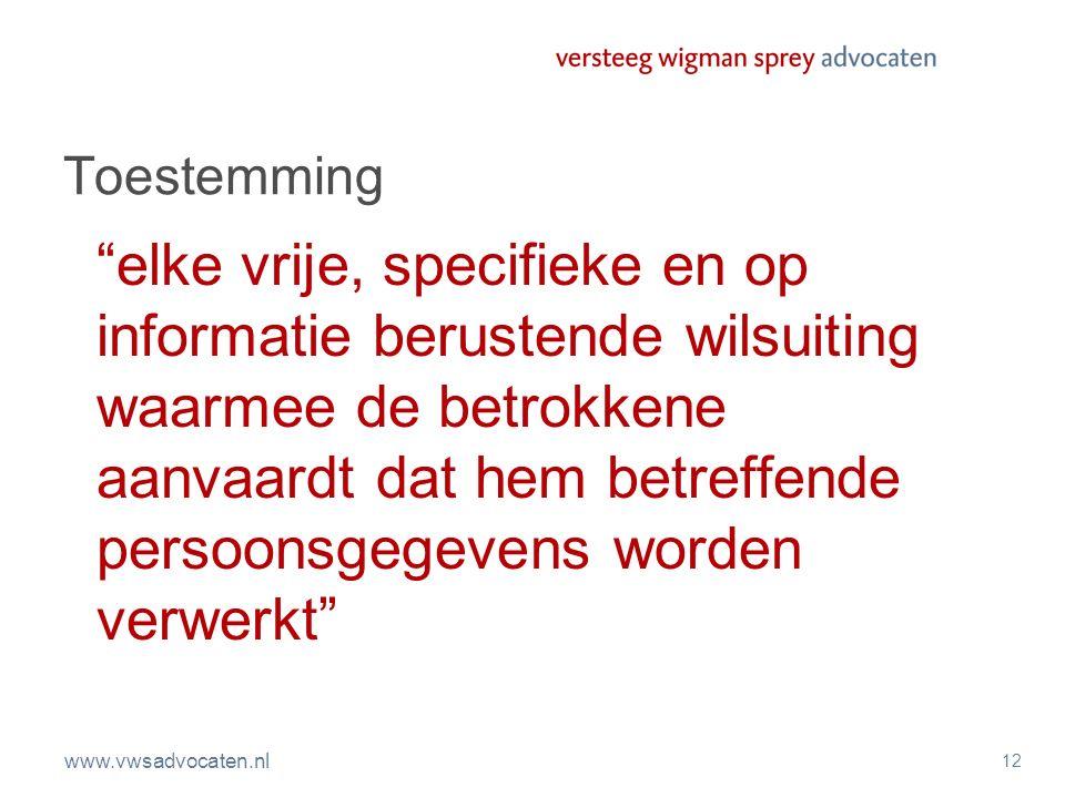 www.vwsadvocaten.nl 13 elke vrije, specifieke en op informatie berustende wilsuiting waarmee de betrokkene aanvaardt dat hem betreffende persoonsgegevens worden verwerkt