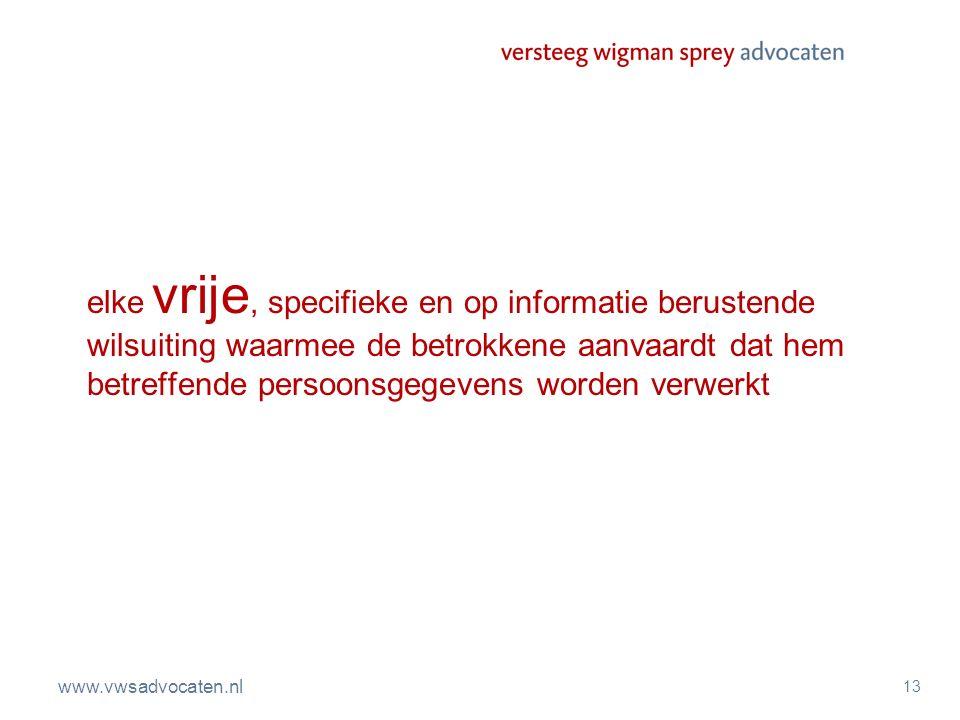 www.vwsadvocaten.nl 13 elke vrije, specifieke en op informatie berustende wilsuiting waarmee de betrokkene aanvaardt dat hem betreffende persoonsgegev