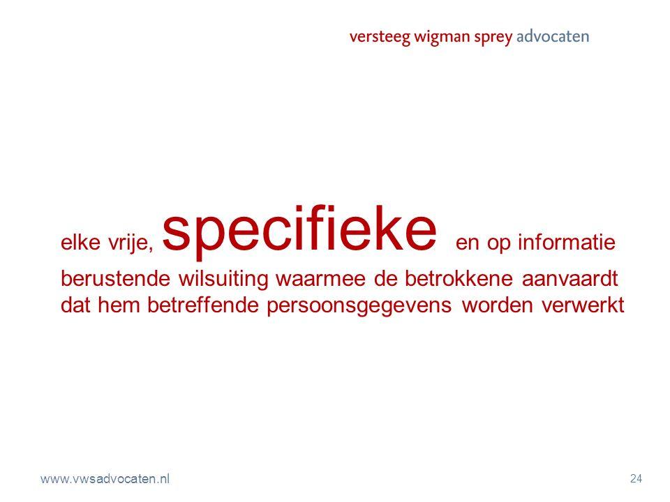 www.vwsadvocaten.nl 24 elke vrije, specifieke en op informatie berustende wilsuiting waarmee de betrokkene aanvaardt dat hem betreffende persoonsgegev