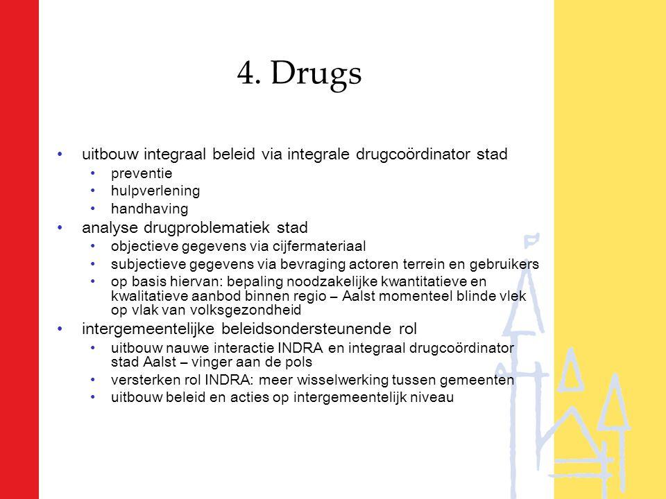 4. Drugs uitbouw integraal beleid via integrale drugcoördinator stad preventie hulpverlening handhaving analyse drugproblematiek stad objectieve gegev