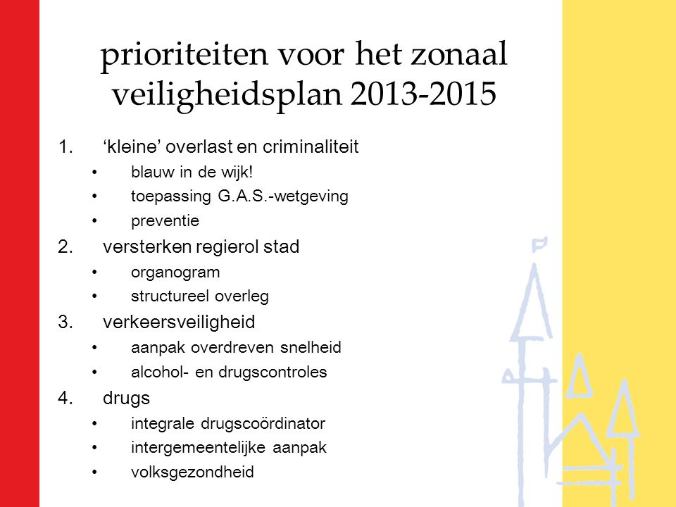 prioriteiten voor het zonaal veiligheidsplan 2013-2015 1.'kleine' overlast en criminaliteit blauw in de wijk! toepassing G.A.S.-wetgeving preventie 2.