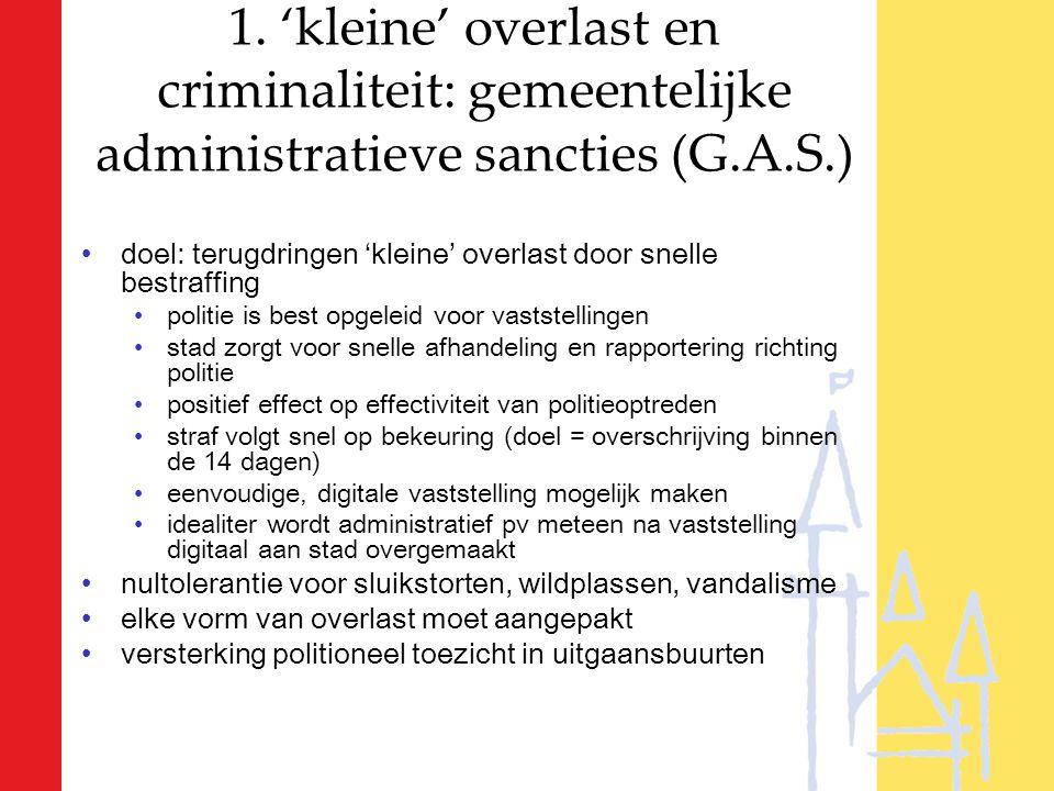 1. 'kleine' overlast en criminaliteit: gemeentelijke administratieve sancties (G.A.S.) doel: terugdringen 'kleine' overlast door snelle bestraffing po