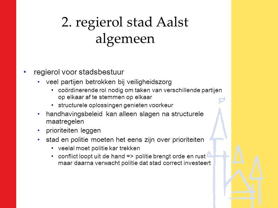 2. regierol stad Aalst algemeen regierol voor stadsbestuur veel partijen betrokken bij veiligheidszorg coördinerende rol nodig om taken van verschille