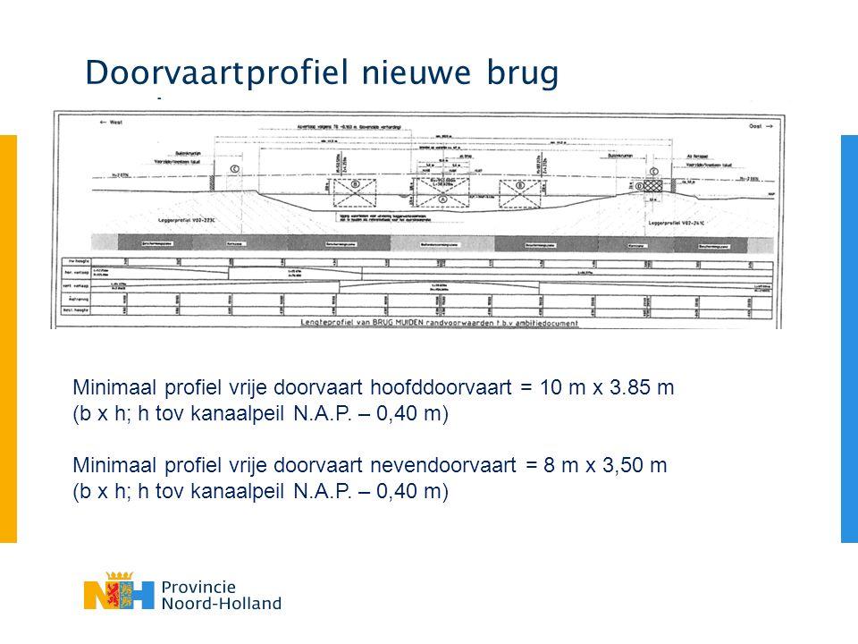 Doorvaartprofiel nieuwe brug Muiden Minimaal profiel vrije doorvaart hoofddoorvaart = 10 m x 3.85 m (b x h; h tov kanaalpeil N.A.P.