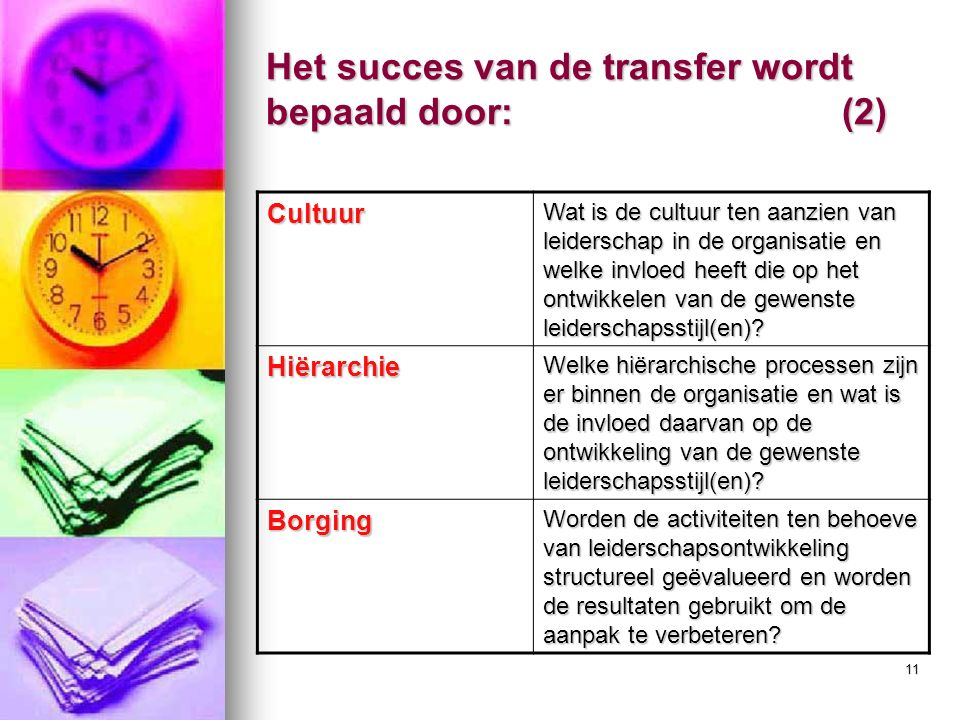 11 Cultuur Wat is de cultuur ten aanzien van leiderschap in de organisatie en welke invloed heeft die op het ontwikkelen van de gewenste leiderschapsstijl(en).