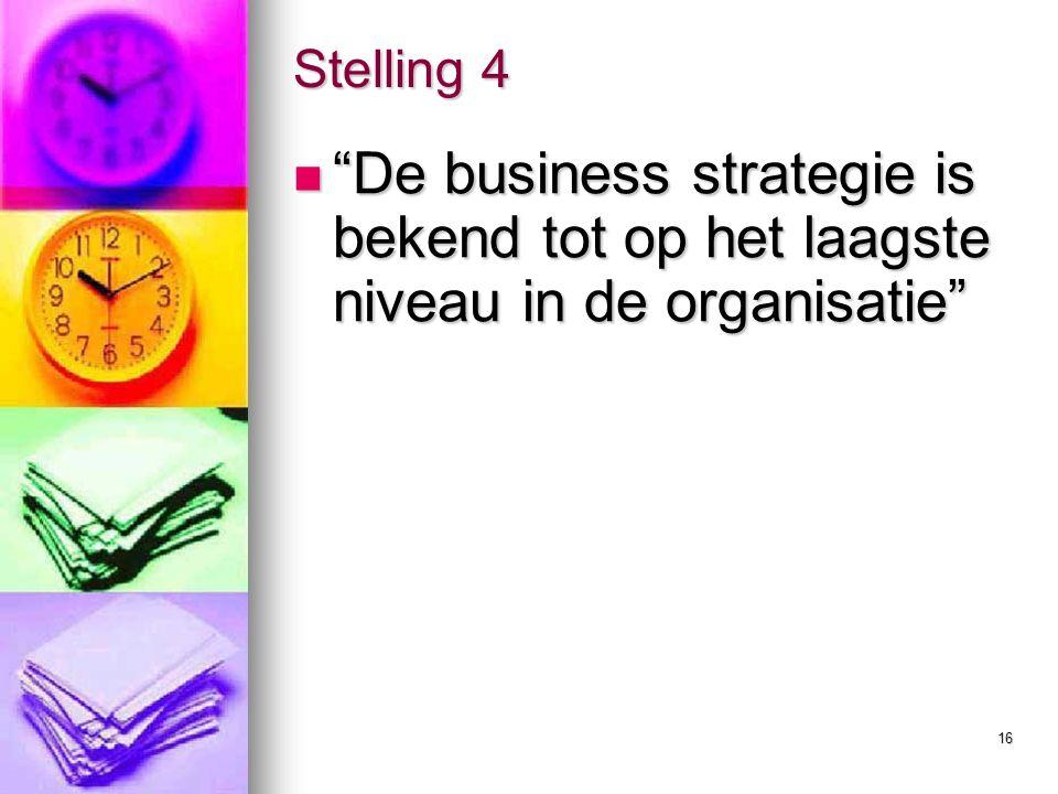 16 Stelling 4 De business strategie is bekend tot op het laagste niveau in de organisatie De business strategie is bekend tot op het laagste niveau in de organisatie