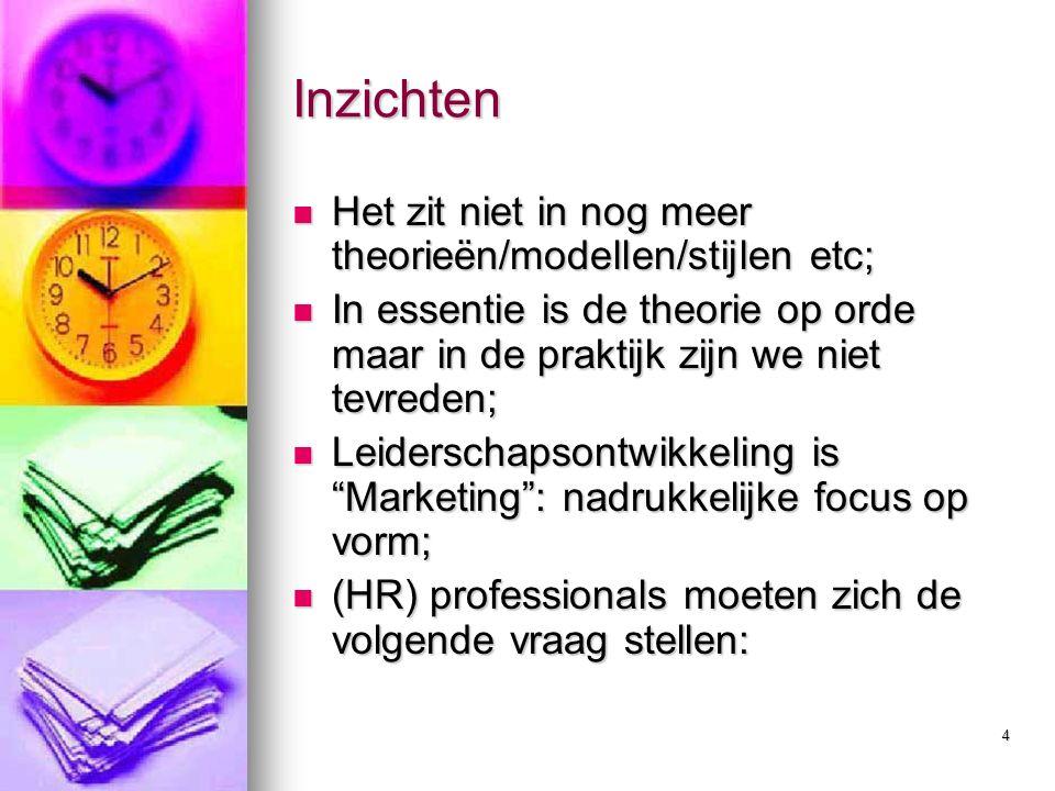 4 Inzichten Het zit niet in nog meer theorieën/modellen/stijlen etc; Het zit niet in nog meer theorieën/modellen/stijlen etc; In essentie is de theorie op orde maar in de praktijk zijn we niet tevreden; In essentie is de theorie op orde maar in de praktijk zijn we niet tevreden; Leiderschapsontwikkeling is Marketing : nadrukkelijke focus op vorm; Leiderschapsontwikkeling is Marketing : nadrukkelijke focus op vorm; (HR) professionals moeten zich de volgende vraag stellen: (HR) professionals moeten zich de volgende vraag stellen:
