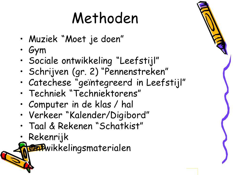 """Methoden Muziek """"Moet je doen"""" Gym Sociale ontwikkeling """"Leefstijl"""" Schrijven (gr. 2) """"Pennenstreken"""" Catechese """"geïntegreerd in Leefstijl"""" Techniek """""""