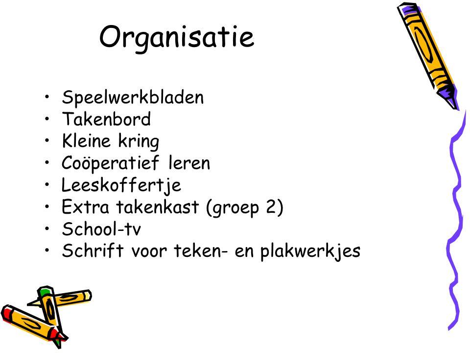 Organisatie Speelwerkbladen Takenbord Kleine kring Coöperatief leren Leeskoffertje Extra takenkast (groep 2) School-tv Schrift voor teken- en plakwerk
