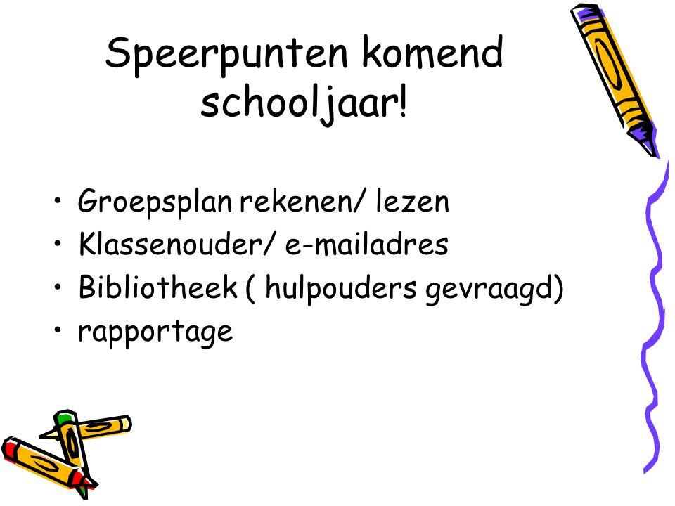 Speerpunten komend schooljaar! Groepsplan rekenen/ lezen Klassenouder/ e-mailadres Bibliotheek ( hulpouders gevraagd) rapportage