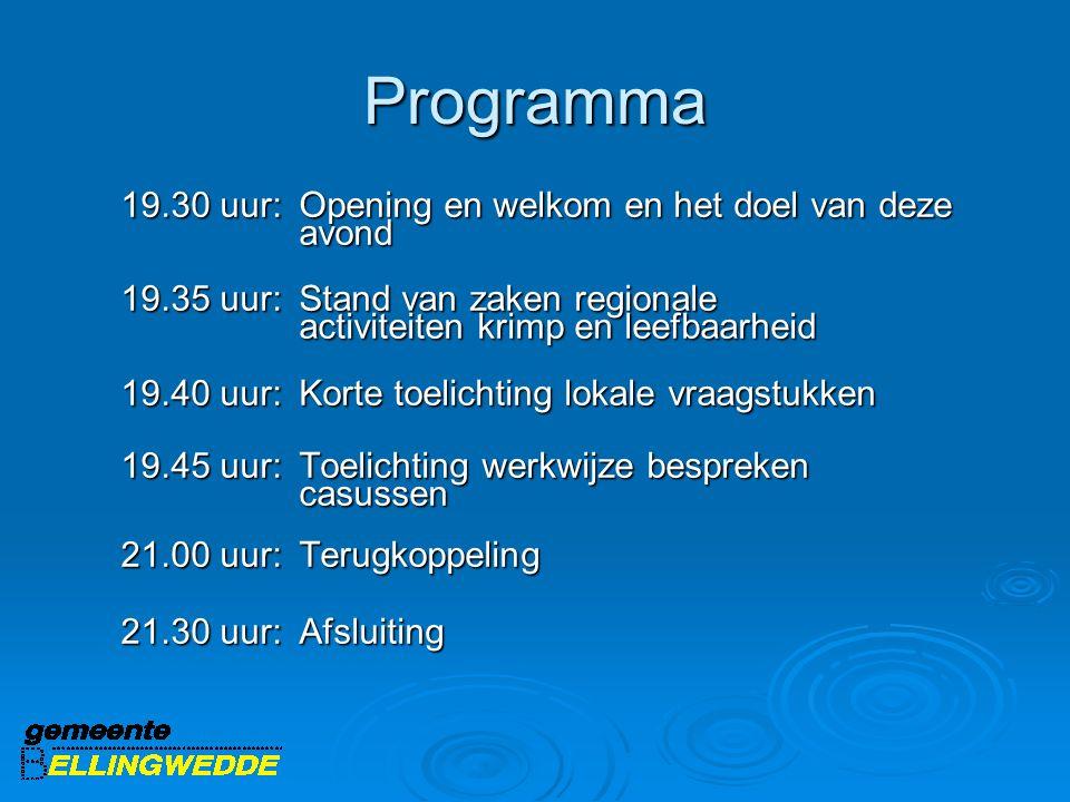 Programma 19.30 uur: Opening en welkom en het doel van deze avond 19.35 uur: Stand van zaken regionale activiteiten krimp en leefbaarheid 19.40 uur: K