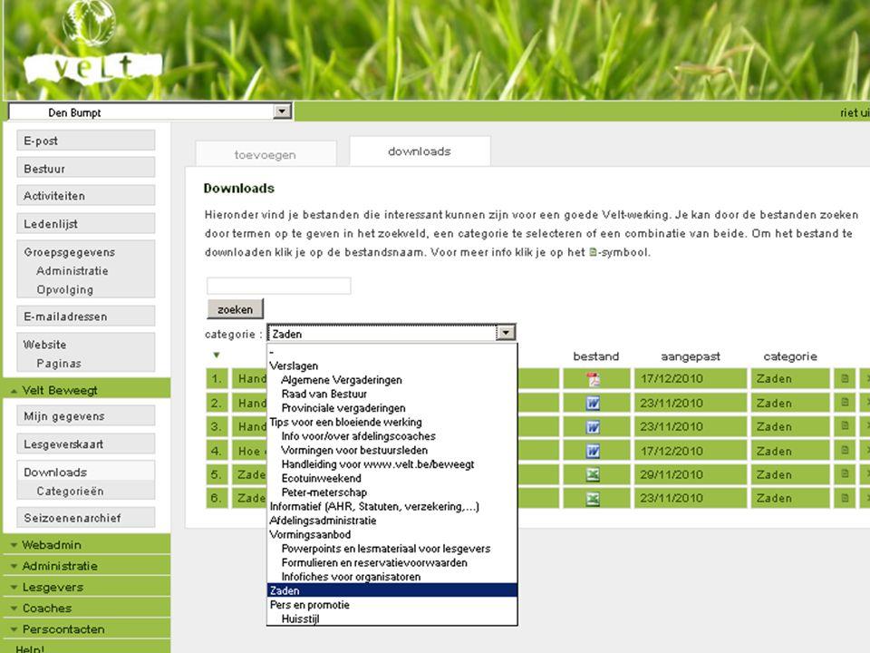 29/08/11Info voor Velt-zadenverantwoordelijken