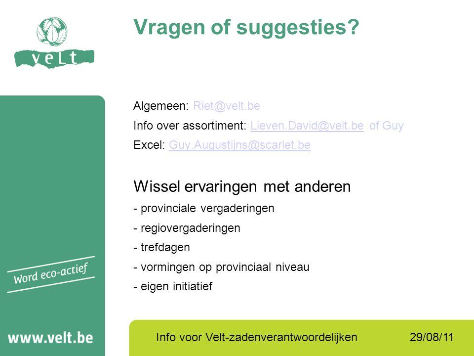 29/08/11Info voor Velt-zadenverantwoordelijken Vragen of suggesties? Algemeen: Riet@velt.be Info over assortiment: Lieven.David@velt.be of GuyLieven.D
