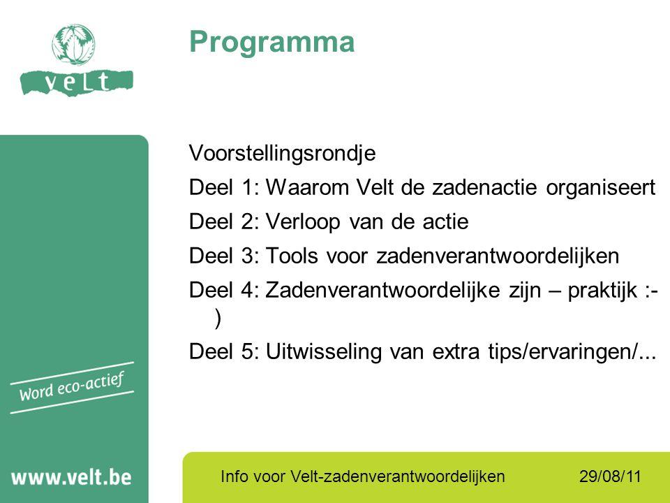 29/08/11Info voor Velt-zadenverantwoordelijken Programma Voorstellingsrondje Deel 1: Waarom Velt de zadenactie organiseert Deel 2: Verloop van de acti