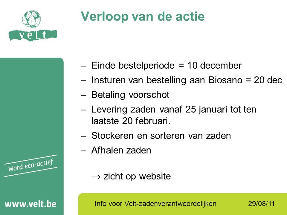 29/08/11Info voor Velt-zadenverantwoordelijken Verloop van de actie –Einde bestelperiode = 10 december –Insturen van bestelling aan Biosano = 20 dec –