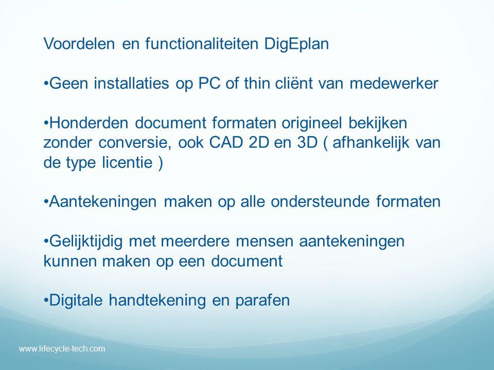 www.lifecycle-tech.com Digitaal stempelen, ook in batch Efficiënt omgaan met opslag van aantekeningen Digitaal samenwerken Alle informatie en aantekeningen opgeslagen in uw DMS, geen extra database nodig Koppelen van data uit b.v.