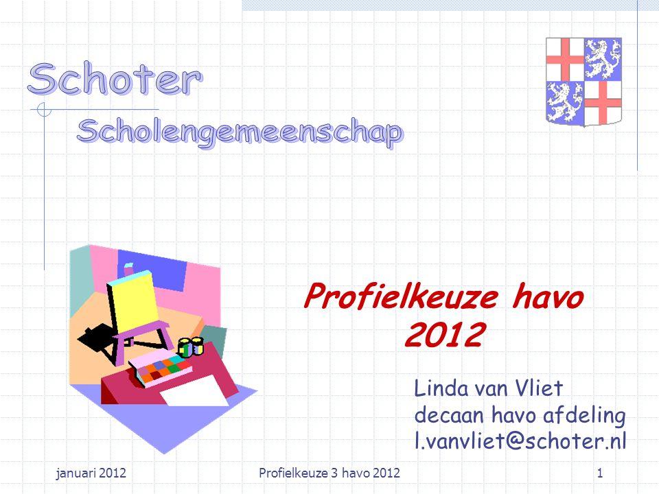 januari 2012Profielkeuze 3 havo 20121 Linda van Vliet decaan havo afdeling l.vanvliet@schoter.nl Profielkeuze havo 2012