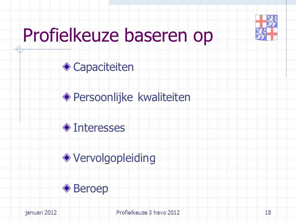 januari 2012Profielkeuze 3 havo 201218 Profielkeuze baseren op Capaciteiten Persoonlijke kwaliteiten Interesses Vervolgopleiding Beroep
