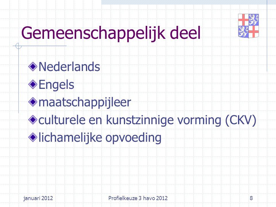 januari 2012Profielkeuze 3 havo 20128 Gemeenschappelijk deel Nederlands Engels maatschappijleer culturele en kunstzinnige vorming (CKV) lichamelijke o