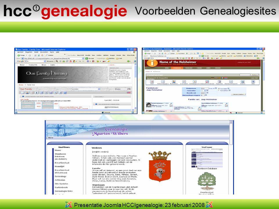Presentatie Joomla HCC!genealogie: 23 februari 2008 Opbouw Joomla Database met gegevens/inhoud Voorkant website modulecomponentplugin Template (uiterlijk van site)