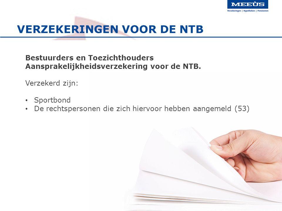 VERZEKERINGEN VOOR DE NTB Bestuurders en Toezichthouders Aansprakelijkheidsverzekering voor de NTB. Verzekerd zijn: Sportbond De rechtspersonen die zi