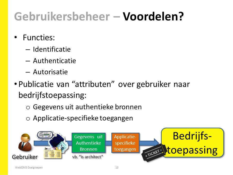 """WebIDM3 Doelgroepen13 Functies: – Identificatie – Authenticatie – Autorisatie Publicatie van """"attributen"""" over gebruiker naar bedrijfstoepassing: o Ge"""