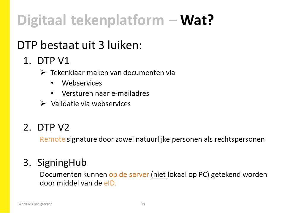 WebIDM3 Doelgroepen19 DTP bestaat uit 3 luiken: 1.DTP V1  Tekenklaar maken van documenten via Webservices Versturen naar e-mailadres  Validatie via